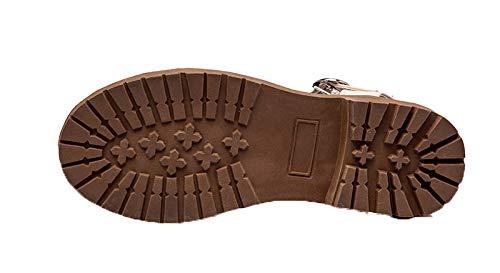 toe A Sandali Open Ccalo012928 Voguezone009 Fibbia Di Elaborazione Delle Basso Donne tacchi Dell'unità Beige Solide qzxPYvzw