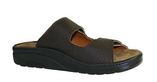 Algemare Herren Pantolette Olivenleder Algen Kork Wechselfußbett Leder 7260_4673, Größe:42