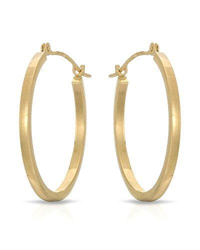 MCS Jewelry 14 Karat White OR Yellow Gold Tubed Classic Hoop Earrings (Diameter: 1