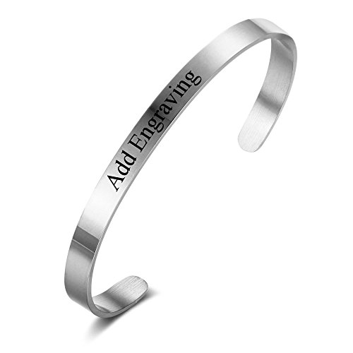 (Love Jewelry Personalized Inspirational Bracelets for Women Custom Name Bangle Engraved Cuff Bracelet for Best Friends (Silver))