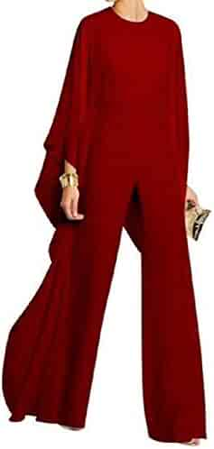 UUYUK Women Casual Pants Trousers Batwing Sleeve Off The Shoulder Solid Color Jumpsuit Romper