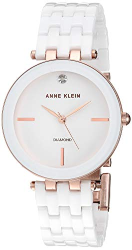 (Anne Klein Women's AK/3310WTRG Diamond-Accented Rose Gold-Tone and White Ceramic Bracelet)