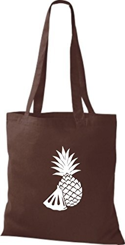 ShirtInStyle Bolso de tela Bolsa de algodón Tu Favorita frutas y hortalizas Piña - fucsia, 38 cm x 42 cm Marrón