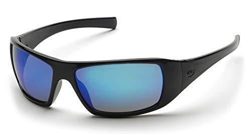 (Pyramex Goliath Safety Eyewear, Black Frame, Ice Blue Mirror Lens)
