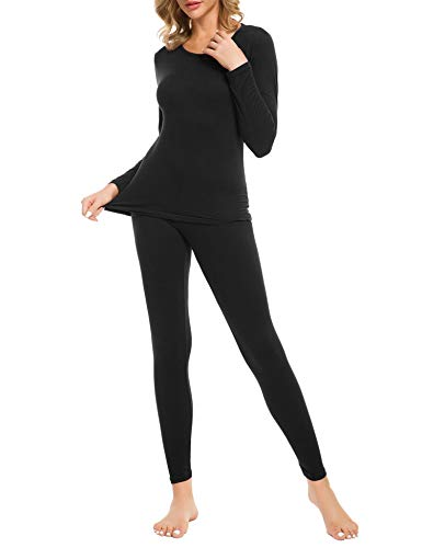 LOMON Thermal Underwear for Women Ultra Soft Smooth Knit Henley Long Johns Set Base Layer Top & Bottom(Black M)