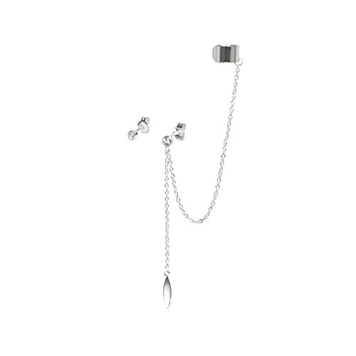 925 Sterling Silver Cz Crystal Dot Stud Post Earring With Chain Oval Tag Cartilage Ear Cuff - Oval Tiffany Tag