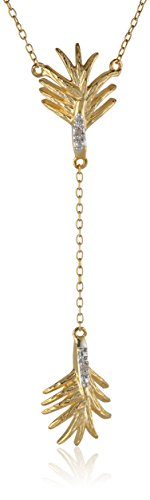 """18K Yellow Gold Plated Sterling Silver Two-Tone Leaf Necklace, 18"""""""