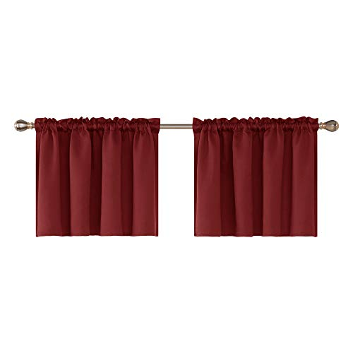 ket Embossed Window Valances Blackout Valance Curtain Light Blocking Valance for Bedroom 52x24 Inch Burgundy 2 Panels ()