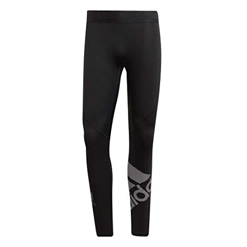 adidas Men's Alphaskin Sport Badge of Sport Long Tights, Black/logo, Large