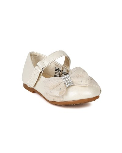 JELLY BEANS Limasa Leatherette Fabric Bow Rhinestone Mary Jane Dressy Ballerina Flat (Toddler) AH36 - Pearl (Size: Toddler 4) by JELLY BEANS (Image #5)