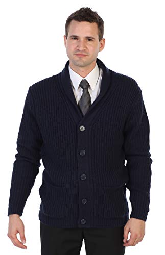 Gioberti Men's Shawl Collar Knitted Regular Fit Cardigan with Faux Suede Elbow Patch, Navy, Medium (Mens Business Casual Cardigan)