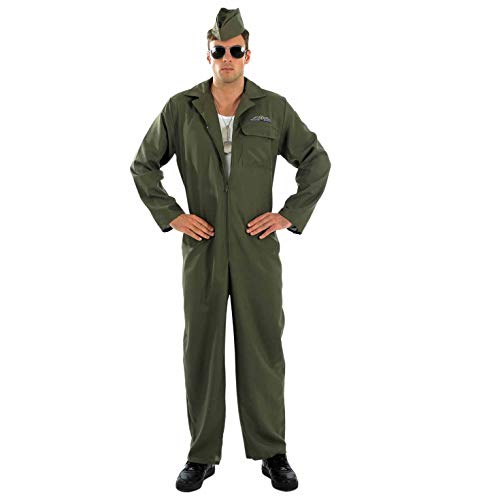 Mens Aviator Costume Adults Military Pilot Green Flightsuit Outift - Large