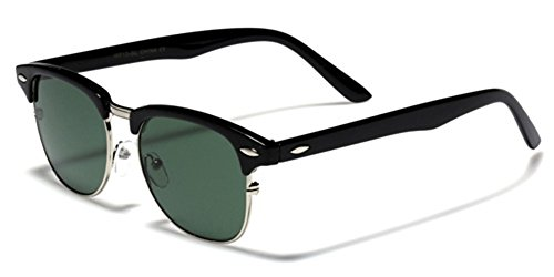 S-M Size Original Retro Glass Lens Clubmaster Sunglasses - Black & Silver (Original Clubmaster)