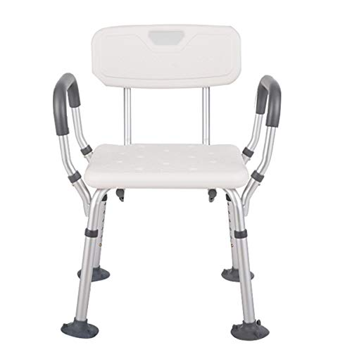 Shower Chair Deluxe Folding Bath Bench Seat Adjustable Height Tool Free Lightweight Medical Portable Stool Heavy Duty Armrests with Back for Elderly Disabled Handicap Senior Safety