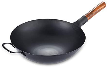 Kitchen Wok School of Wok Star Wok en acier carbone Noir 36cm