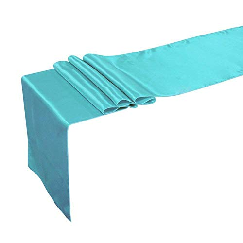 Breeze Talk Table Runner 12 x 108 Inch Satin Tiffany Blue Tablecover for Wedding Banquet Decorations, Bridal Shower, Christmas, Birthday, Graduation, Prom, Party Table Décor, Pack of 5 (Tiffany Blue)