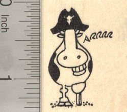 Pirate Grinning Cow with Wooden Leg Rubber Stamp