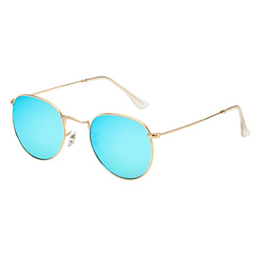 Designer Sunglasses Gold Ladies Buena Round Case Zhuhaitf Sunglasses Women amp;Blue Oversized Calidad for Girls amp; UV400 Metal Vintage UxWqwRvPB