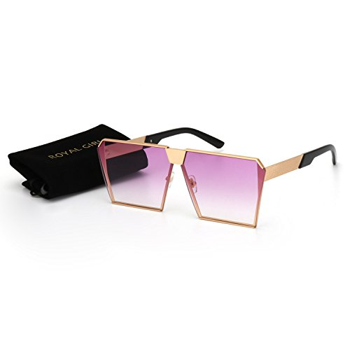 ROYAL GIRL Classic Square Women Sunglasses Retro Oversize Metal Frame Flat Top Sun Glasses (Purple Gradient, - Glasses Sun Funky