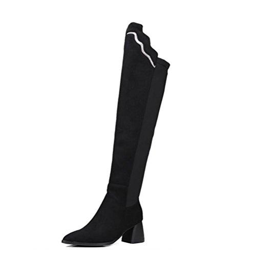 Ei&iLI Chaussures femme haut au-dessus du genou bloc Chunky talon Fashion bottes bottes à embout pointu extérieur / bureau & carrière / occasionnel , black , 41