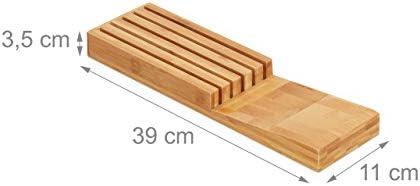Relaxdays Reposacuchillos, Organizador, para Cinco Cuchillos, Inserto de cajón, Bambú, 3,5 x 11 x 39 cm, 1 Ud, Marrón