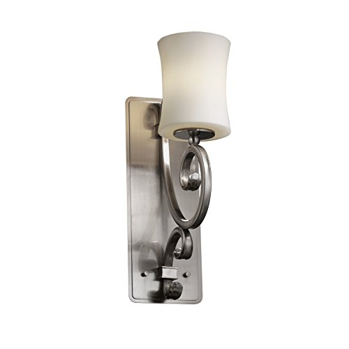 Justice Design Group - Fusion Collection - Victoria Wall Sconce (Medium) - Hourglass - Brushed Nickel Finish with Opal - Design Hourglass Justice