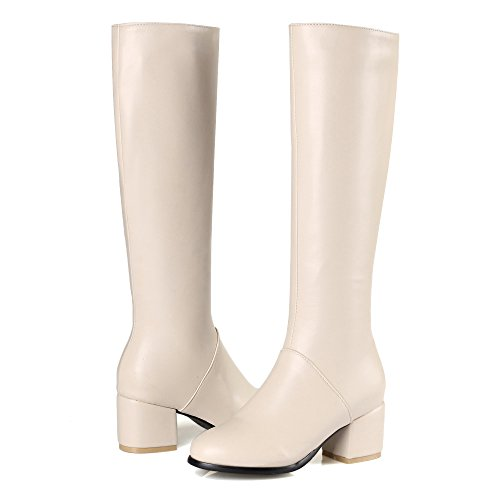 Zipper Boots Women's AgeeMi Low Heels Toe apricot Closed PU Top High Shoes wCqETES