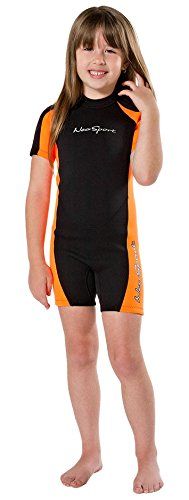 - NeoSport Wetsuits Children's Premium Neoprene 2mm Shorty Wetsuit, Black/Orange, Size Six