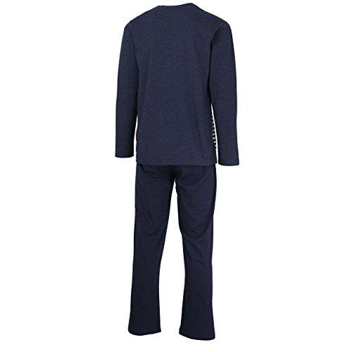 TOM TAILOR Herren Pyjama, Schlafanzug, Shirt und Hose, langarm, Baumwolle, Single Jersey, blau, gestreift