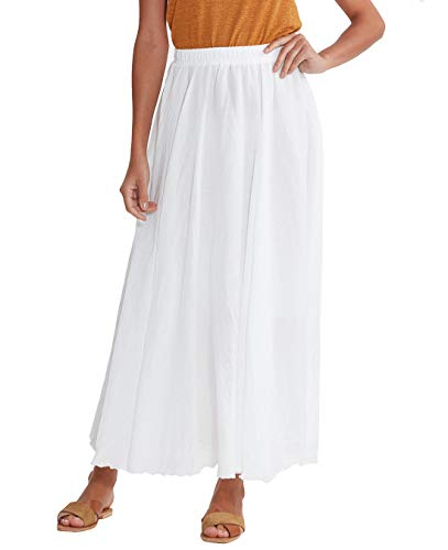 (Women Ankle Length Swing Skirt 37.4inch Cotton Linen Flowing Long Skirt Elastic Waist Boho Summer Autumn (White))