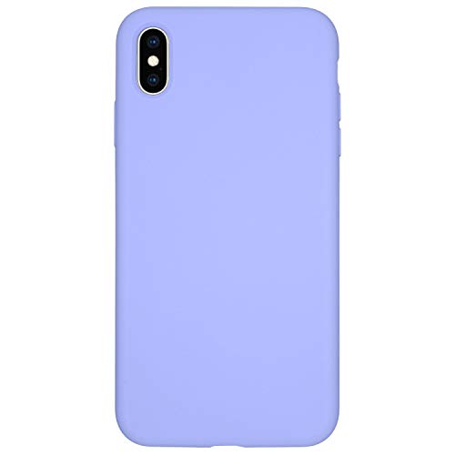 Danbey Silicone Case for iPhone Xs Max, 6.5-inch Display, Liquid Silicone, Matte Surface, Skin Feeling, Charming Colorful (Purple Blue)