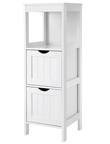 VASAGLE UBBC42WT Floor Cabinet Multifunctional Bathroom Storage Organizer Rack Stand, 2 Drawers, White (Building A Linen Closet In The Bathroom)