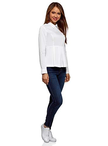 Donna Ultra Camicetta In Bianco1000n Oodji Peplo Cotone Con xdCsQrth