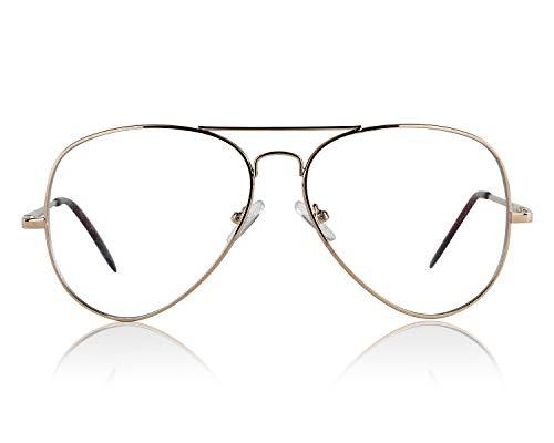 Aviator Sunglasses Glasses Gold Clear Lens For Women And Men Non ()
