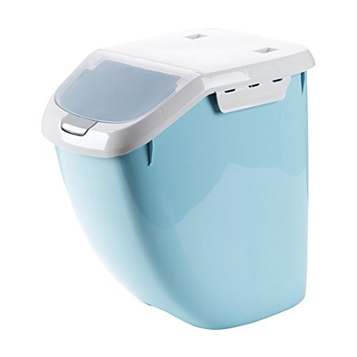 Plastic sealed insect-resistant rice box 30 pounds rice cylinder Household placed flour storage box kitchen-moulded rice barrel blue large Moulded Cylinder