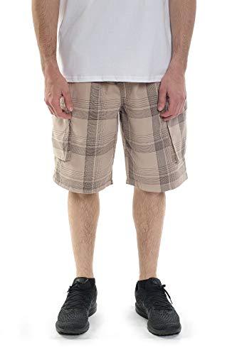 Cargo Plaid Black - YAGO Men's Elastic Waist Drawstring Relaxed Fit Plaid Cargo Shorts (Khaki/Black, X-Large)