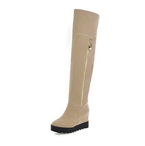 Beige Women's Toe Boots Closed Solid Frosted High Round top High Heels AgooLar PtwaZqnPd