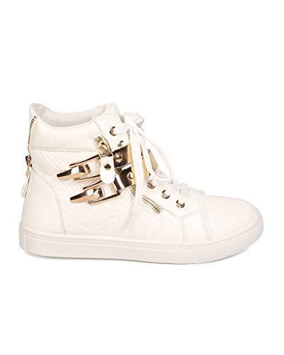Liliana Fb98 Women Kunstleer Snakeskin Lace Up Vergulde Sneaker Met Rits - Wit