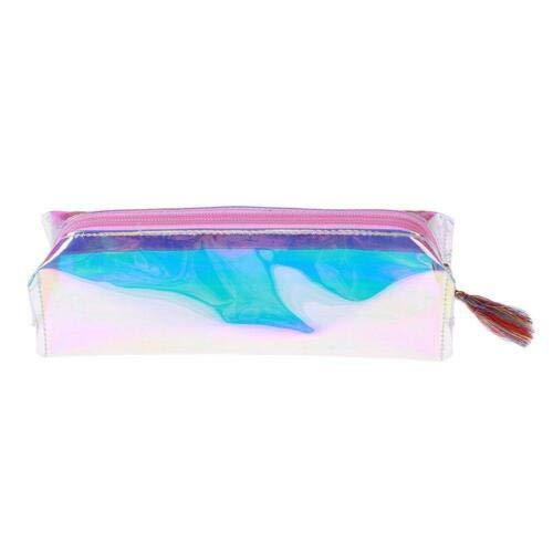 Women Laser Transparent Pencil Case Cosmetic Bag Makeup Pouch Pop Q (Color - Pink) ()