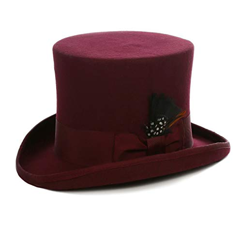 - Ferrecci Wool Satin Lined Burgundy Top Hat with Grosgrain Ribbon and Removable Feather - Unisex, Men, Women (Large)