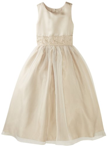 Us Angels Big Girls' Dress With Handbeaded Cummerbund, Champagne, 12 by US Angels