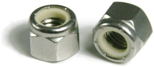 Nylon Lock Nuts Nylock A2 Stainless Steel - 6M x 1.0 (10.0 Flats x 6.0 Height) Qty-100 by RAW PRODUCTS CORP
