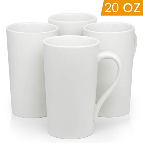 20 OZ Large Ceramic Coffee Mugs, Smilatte M007 Plain Blank Tall Ceramic Cup with Handle for Dad Men, Set of 4, White ()