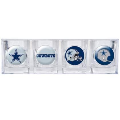 (NFL Dallas Cowboys Four Piece Square Shot Glass Set (Individual)