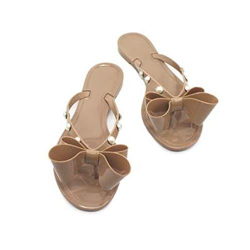 - JORCOKA Womens Summer Beach Bow Flip Flop Sandals Flat Slipper Shoes Thong Slip-On Khaki