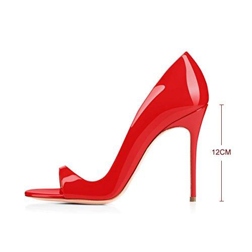 Onlymaker Women`s Pigolio Della Punta Tacco Sandali Slingback Pompe Dello Stiletto Tallone Per Il Vestito Partito Z-rosso