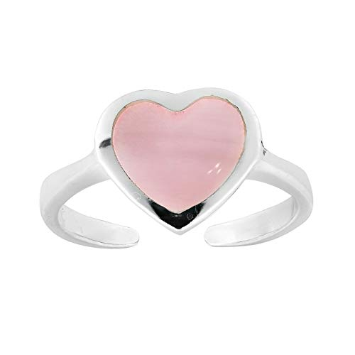 - Cute & Colorful Heart Shaped Pink Shell Inlay Sterling Silver Toe or Pinky Ring