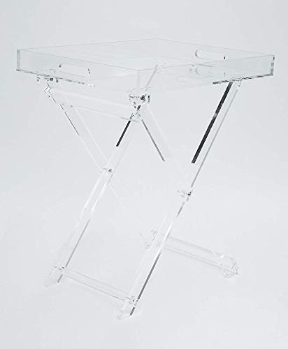 Acrylic Folding Tray Table - Modern Chic Accent Desk - Kitchen and Bar Serving Table - Elegant Clear Design - by - Modern Design Chic
