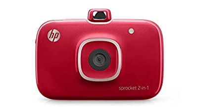 HP Sprocket Portable Photo Printer (black) with ZINK Sticky-Backed Photo Paper (Renewed)