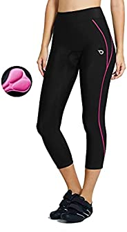 Baleaf Women's 3D Padded 3/4 Cycling Tights Wide Waistband UPF